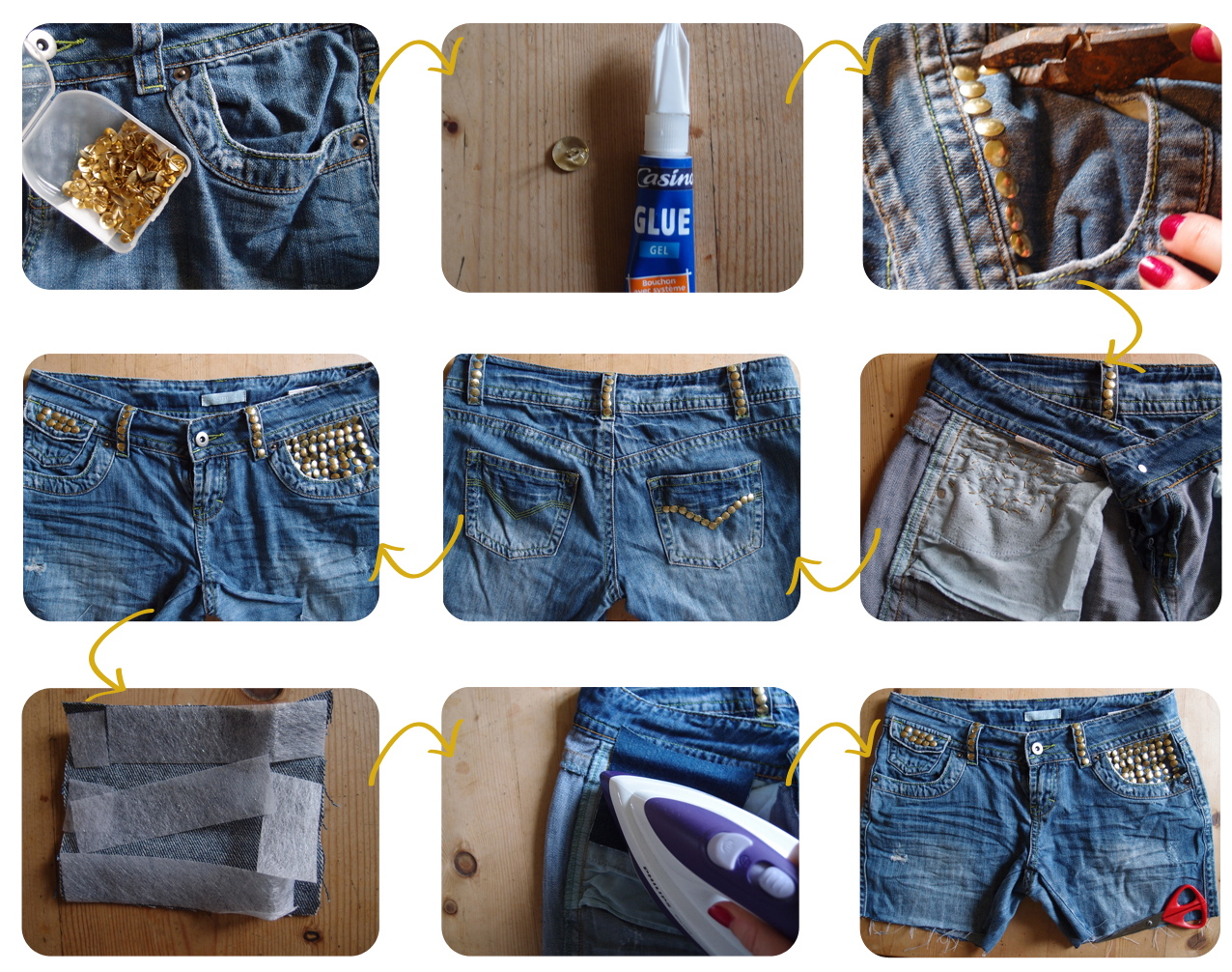 DIY Studded Denim Shorts | Clones 'n' Clowns